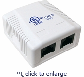 CAT 6 Surface Mount Box 2 Port Pre-wired, Universal Box Case – White