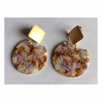 Acetate Pink and Gold Earrings
