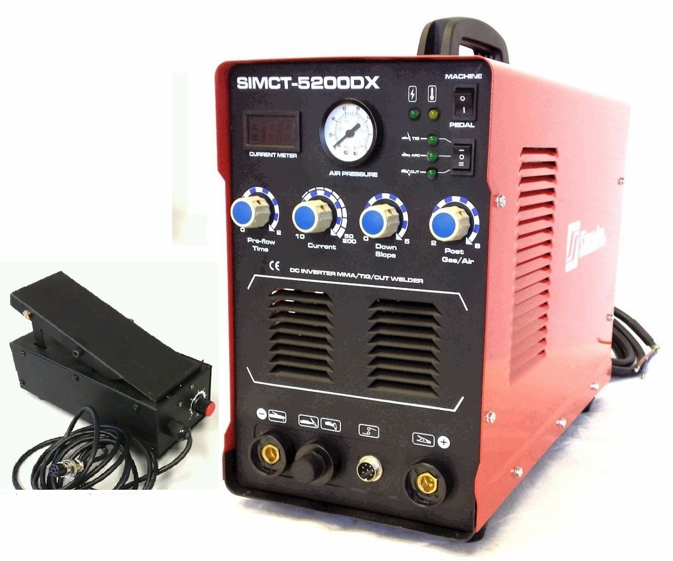 SIMADRE 5200DX  50A PLASMA CUTTER 200A TIG ARC MMA WELDER with FOOT PEDAL
