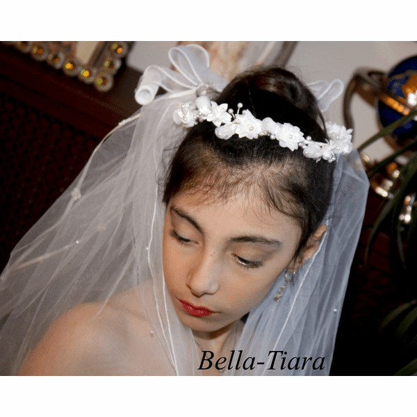 Alessia - Beautiful communion hair wreath, communion headpiece and veil - SOLD OUT
