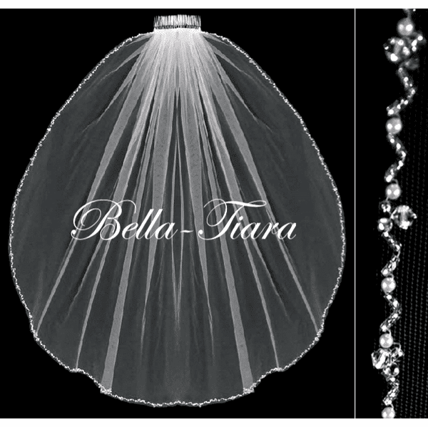 Alina - Gorgeous crystal and pearl communion veil