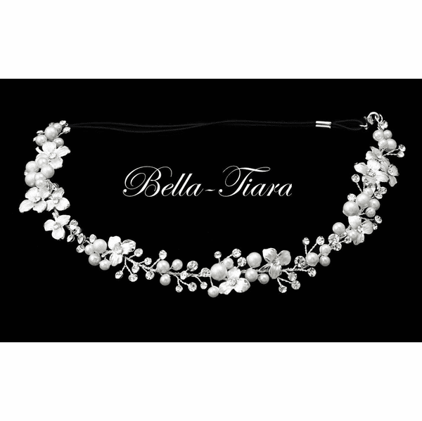 Andrea - Beautiful pearl and crystal communion hairpiece