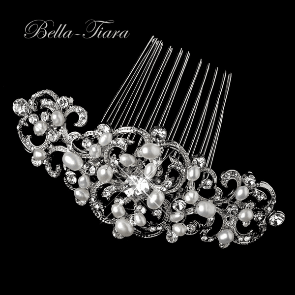 Antique silver crystal freshwater pearl wedding comb