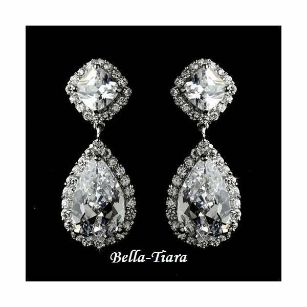 April- Sophisticated elegant CZ  earrings - SALE!!