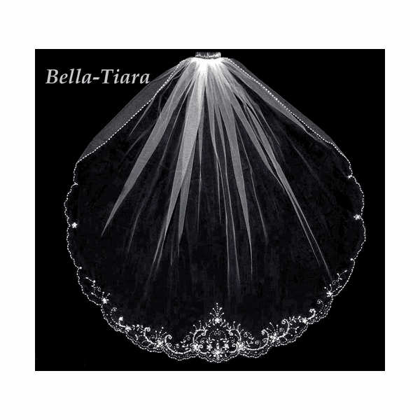 BEADED crystal cathedral veil - Free Blusher - 20% off use code (20veil)
