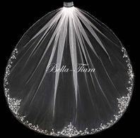beaded royal cathedral wedding veil - free blusher --  20% OFF use code 20veil