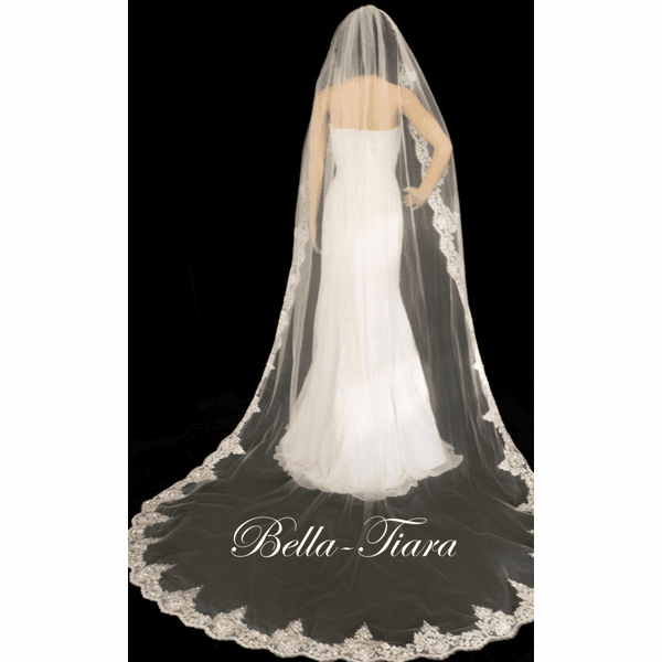 Beautiful beaded lace cathedral veil