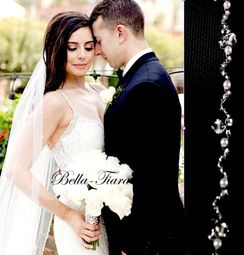 BEST SELLER- Crystal & Pearl Edge cathedral wedding Veil - 20% off use code (20veil)