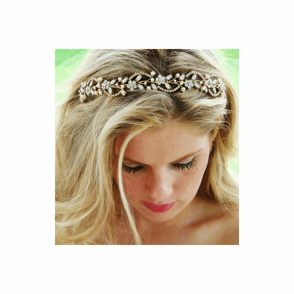 Beautiful Gold Swirl w/ pearl Headband Tiara - sale