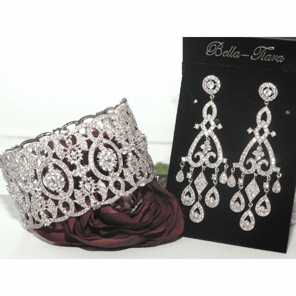 Belle - Beautiful ROYAL Vintage Style CZ Bridal Jewelry set - AMAZINGLY PRICED! back  in stock!