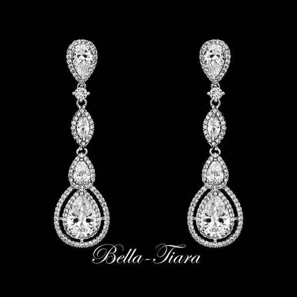Bellissima - Royal Collection - elegant bridal drop wedding Earrings  - 15% off use code (jewel15)