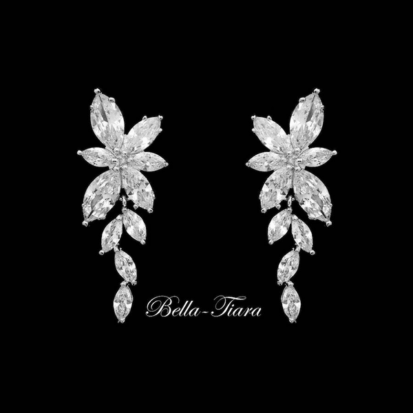 Bliss - CZ vine bridal earrings -15% off use code (jewel15)