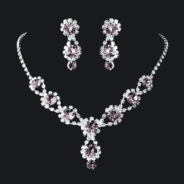 Bold and beautiful purple rhinestone necklace set - SPECIAL