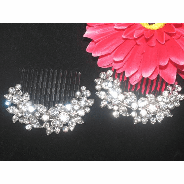 Coral - Dazzling rhinestone set of bridal hair combs - SPECIAL!!