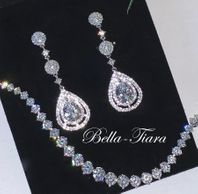Crystal CZ long drop bridal earrings -15% off use code (jewel15)