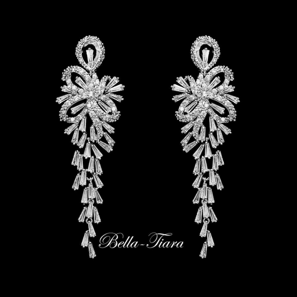 Dana - Elegant crystal drop bridal Earrings -15% off use code (jewel15)