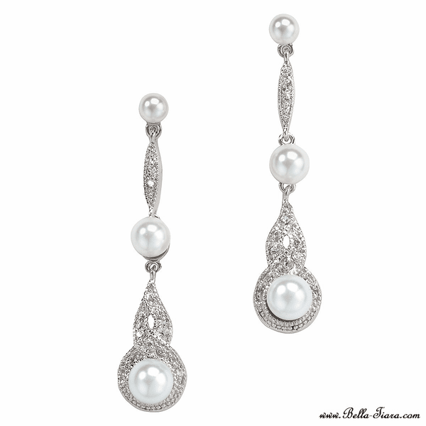 Danna - Vintage off white pearl long drop wedding earrings - SALE