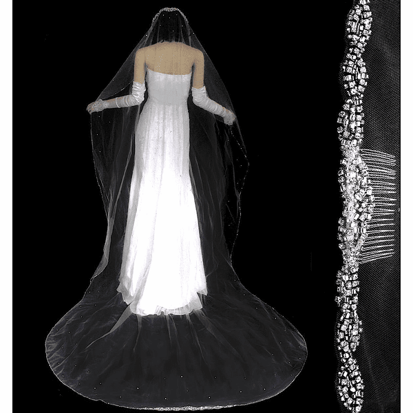 Dazzle Collection - ELEGANT crystal edge cathedral wedding veil - Free blusher - SALE