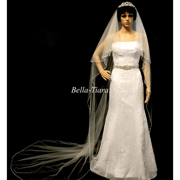 Dazzle Collection - New!! Elegant cascading cathedral crystal edge veil