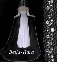 Dazzling crystal pearl cathedral wedding veil - free blusher- 20% off use code (20veil)