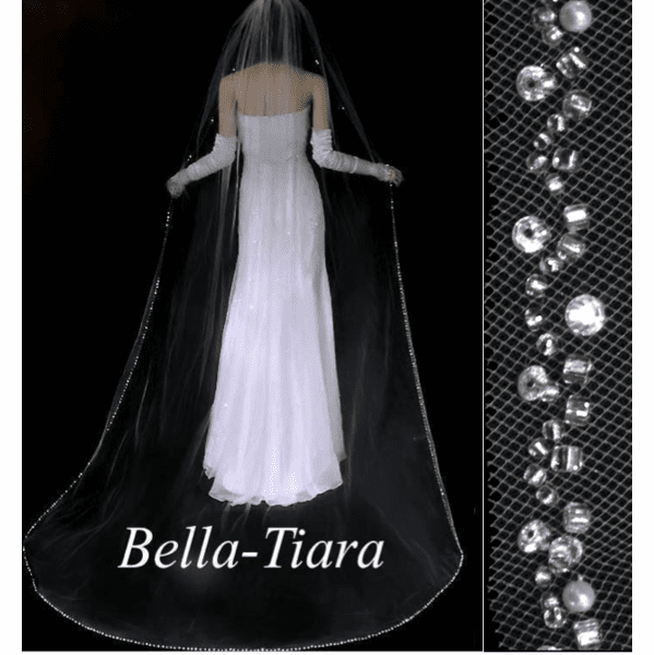 Dazzling crystal pearl cathedral wedding veil - free blusher