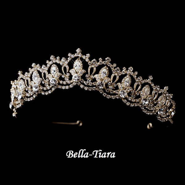 Deanna - Fabolous Gold Clear Rhinestone Royal Tiara