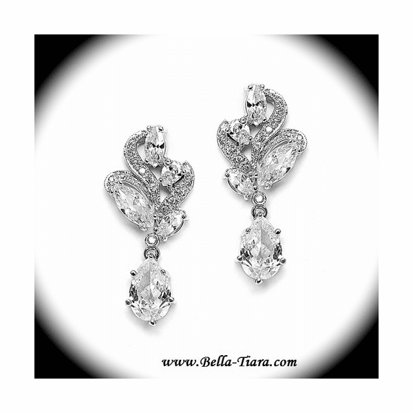Desert - Beautiful antique silver CZ wedding earrings - SPECIAL