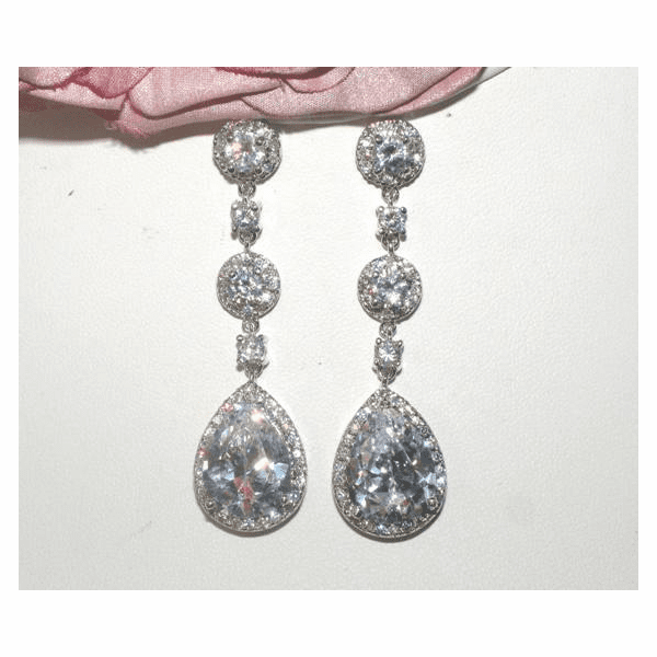 Desiree - Royal Collection - Stunning CZ drop bridal earrings - (jewel15)