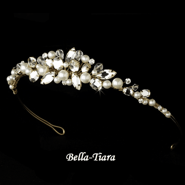 Destiny - Stunning Gold & Ivory Tiara with Pearls