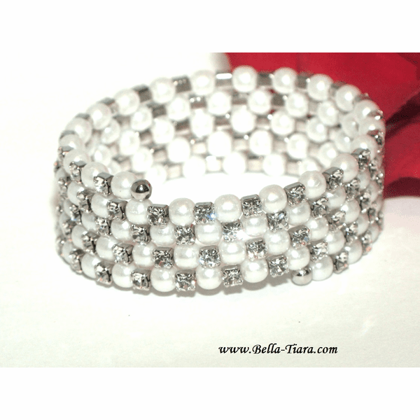 Elegant five row crystal off white pearl wedding bracelet - SPECIAL