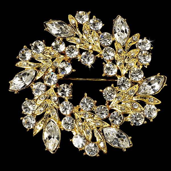 Elegant Vintage Crystal Bridal Gold Brooch or Hair pin - SALE!