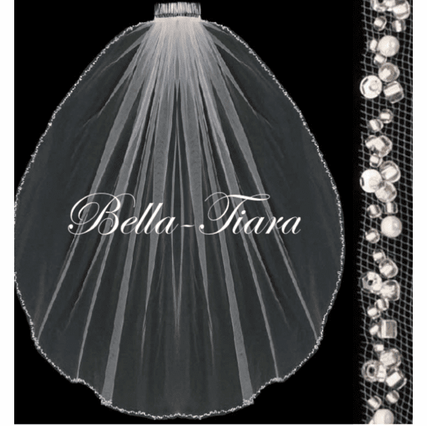 Ella-Crystal and pearl communion veil <br/>Italian collection