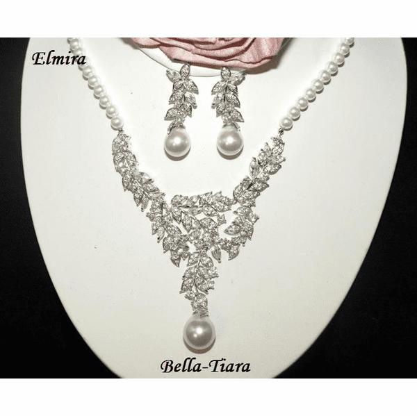 Elmira - ENCHANTING pearl and CZ wedding necklace set - SALE