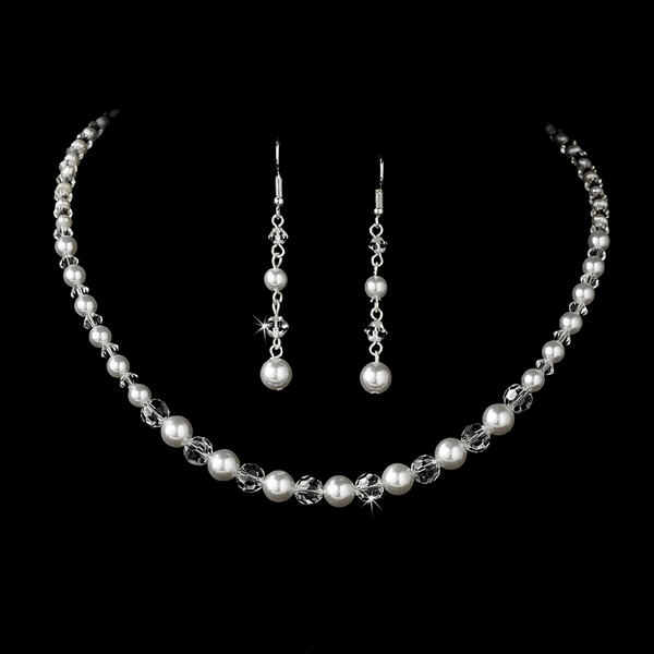 Elnora - Beautiful Ivory Pearl and Crystal Bridal Necklace Set -