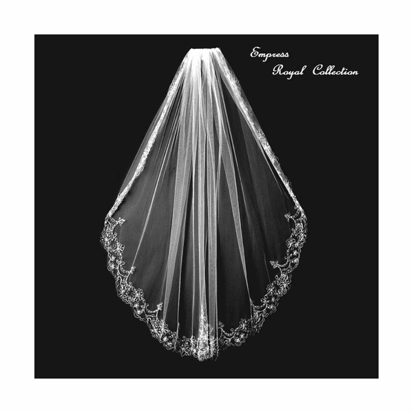 Empress-Royal Collection - Majestic Silver beaded embroidered bridal veil - SALE!!
