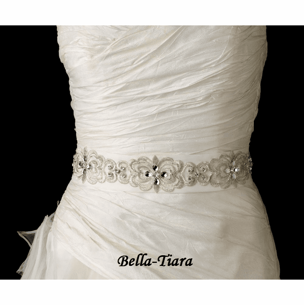 Floral Embroidered Belt with Rhinestones, Beads & Swarovski Crystal Beads