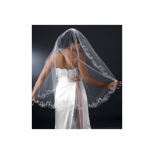 Gorgeous - Romantic Couture Embroidered Scalloped bridal veil - SALE!!