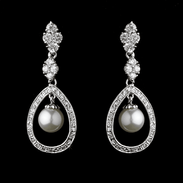 Heavenly romantic pearl and Cubic Zirconia bridal earrings - SPECIAL