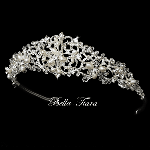 Luisa-Swarovski crystal freshwater pearl communion tiara<br/>Italian Collection