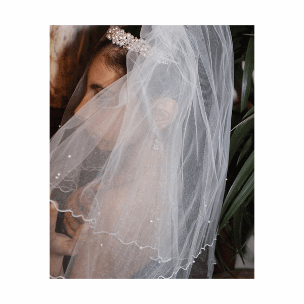 Maria - 2 tier pearl communion veil <br />Italian Collection