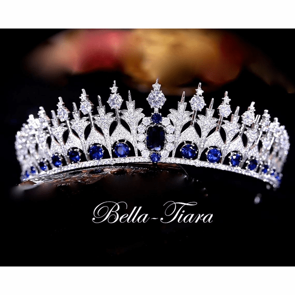 <h4>Sapphire-Exquisite Royal Navy blue crystal Tiara</h4> Free Earrings or Bracelet