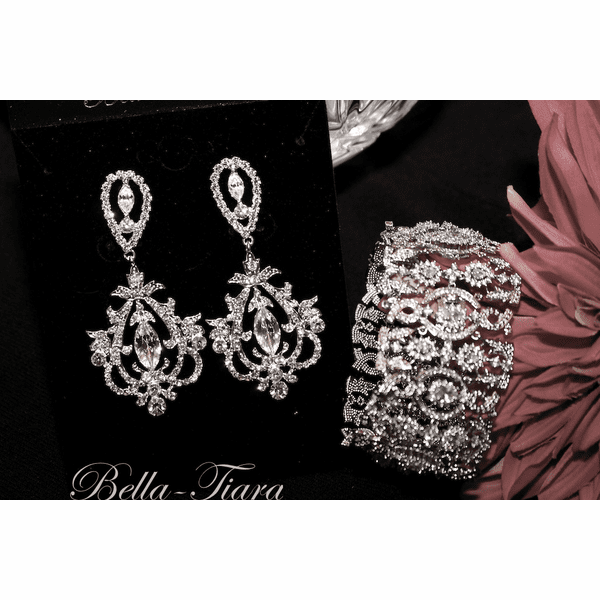 Josephine - Royal collection CZ earrings and bracelet set - SALE