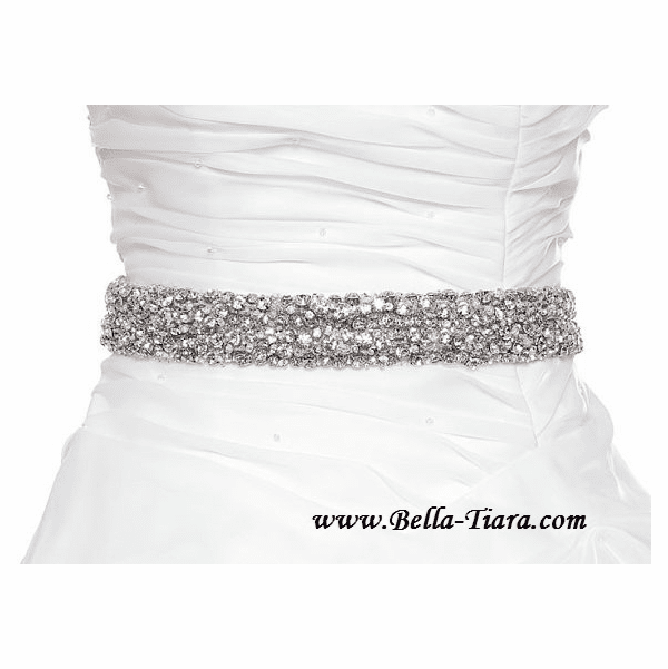 Karen - Couture Dazzling wide Swarovski crystal wedding sash - SALE