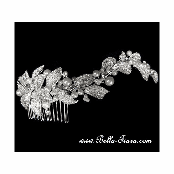 Liana - New Stunning romantic pearl crystal hair comb - SALE