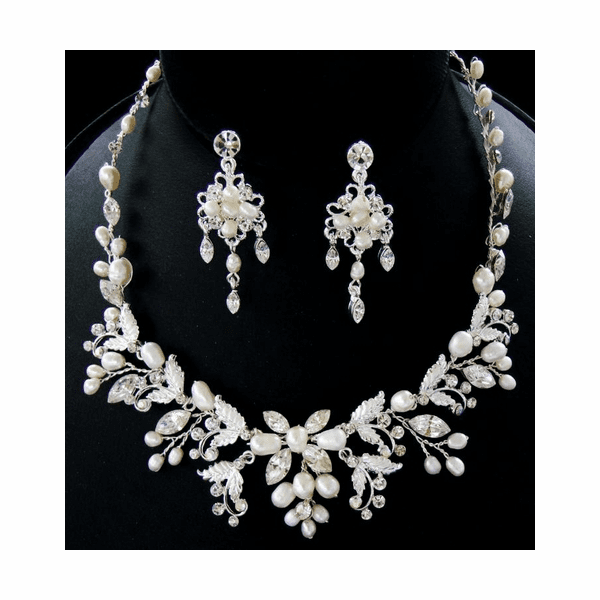 Loredana - Freshwater Pearl Vine Wedding Necklace set - SALE two left