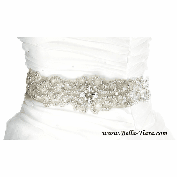 Lucia - Gorgeous wide all around beaded bridal sash - Special
