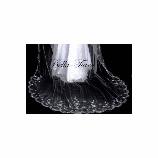 Luxurious collection - Royal length crystal beaded edge cathedral veil plus free blusher