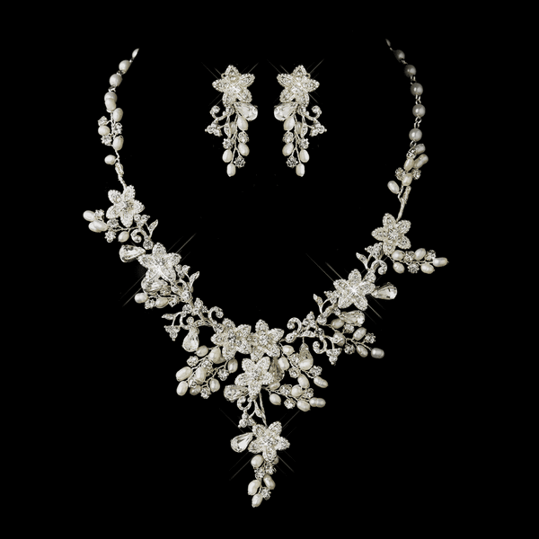Madelaina - Romantic ivory freshwater pearl wedding necklace set -  GREAT PRICE!!