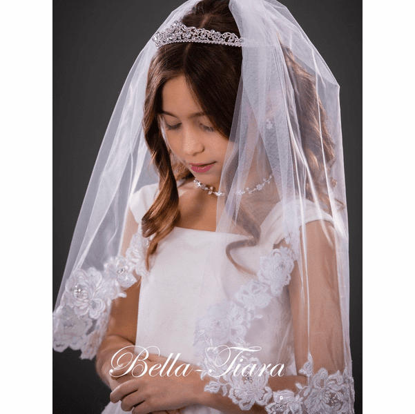 Mary- French lace first communion veil<br/>Italian collection