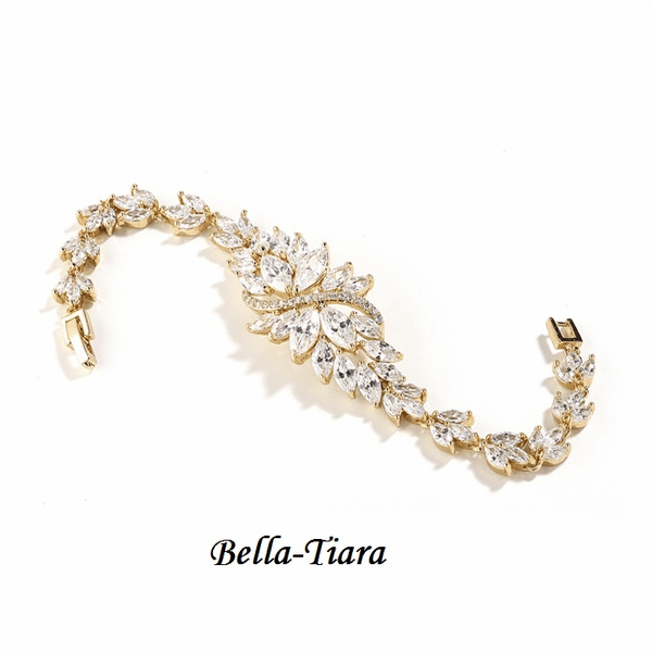 NEW! Magnificent CZ Cluster Gold Bracelet with Dainty Marquis Stones